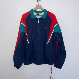 VINTAGE Color Block ASICS Jacket, Sz Large